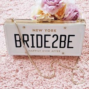 RARE Kate Spade Bride2Be  License Plate Clutch